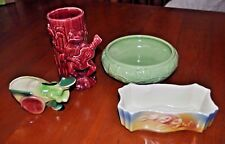 Lot 4 vintage Shawnee Pottery planter vase ivy frog guitar lily Asian cart GREAT
