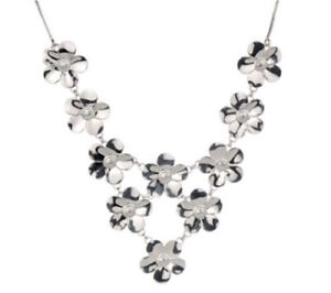 """Paola Valentini 16"""" Flower Bib Necklace with Extender, Sterling Silver"""