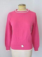 NOS w/Tag Vtg 60s Rose Pink Acrylic Preppy Collegiate Sweater White Stripe M