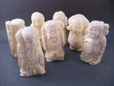 7  Seven Japanese Lucky Gods Boxed Set, Bleached Bone Vintage Complete Set