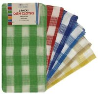 "3 Pack Kitchen Dish Cloths 100% Cotton 12"" x 12"" 6 Colors Brand New 4613"