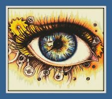 steampunk Eye Cross Stitch Chart 12.0 x 10.4 inches.