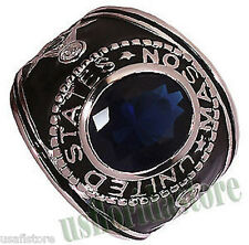 Mens USA Masonic Blue Stones .925 Sterling Silver Ring Size 7