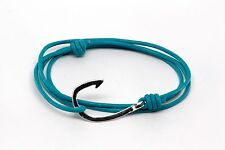 Handmade Turquoise Leather Nautical Rope Cord Silver Fish Hook Bracelet Fashion