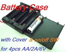 Battery Box Holder Batteries Case for 4 packs AA, 2A  6V with Cover / Switch