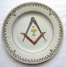 RARE Assiette franc-maçonnique, emblème franc-maçon: équerre, compas
