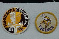 "Pair of Vintage MINNESOTA Patches-3"" CENTENNIAL 1858-1958 & 2 1/4"" MN Vikings"