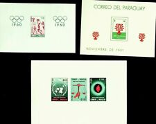 PARAGUAY OLYMPIC GAMES REFUGEE YEAR ONU 3 IMPERF LH MINT SHEETS