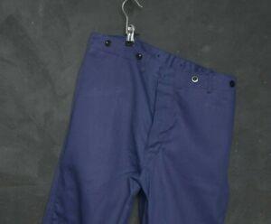 VTG French Worker Men Peasant Pant W34 Workwear Cargo Trouser Chore Dark Indigo
