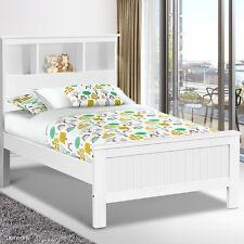King Single Bed Frame Bookcase Shelf Bedhead Wooden Bedroom Furniture Child NEW