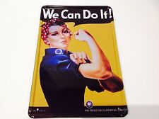 * we can do it! american war production 1940s wall art signe étain plaque photo