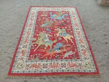 New Handmade 6' x 9' Vintage Indian  Wool Cotton Rug, Traditional Design Carpets