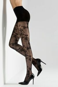NATORI SCARLET FLORAL LACE SHEER TIGHTS SIZE S