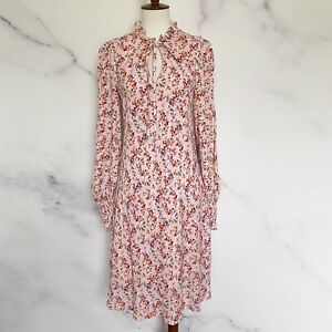 Mello Day NWT Floral Print Front Tie Dress Size Small Light Pink Nordstrom