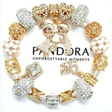 AUTHENTIC PANDORA SILVER CHARM BRACELET GOLD CRYSTAL LOVE STORY EUROPEAN CHARMS
