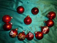 ~ 12 alte Christbaumkugeln Glas rot weiß Vintage Weihnachtskugeln Tannenbaum CBS
