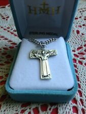 "NEW SOLID STERLING SILVER ST. FRANCIS TAU CROSS, 24"" Chain Velvet Case #S158624"