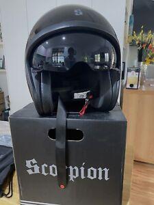 New Scorpian Bandit Motorcycle Cruiser Open face Helmet Black Visor LGE + Clear