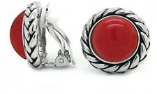 Vintage Clip On Earrings Red Braided Rope Round Women Antique Fashion
