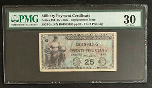 NQC Series 481 25 Cents Replacement Military Payment Certificate PMG VF 30