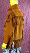 Vintage 1970's Fringe Leather Jacket Natural Brown Size 34 Unlined Hippie Used