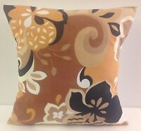 SINGLE RETRO FLOWERED CUSHION COVERS RETRO 60S STYLE BROWN FLORAL