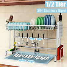 Home Kitchen Over The Sink Dish Drying Rack Stainless Steel Cutlery Holder Shelf