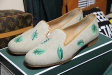 Stubbs & Wootton slippers loafers 10 designer tan fronds palm tree leaves shoe