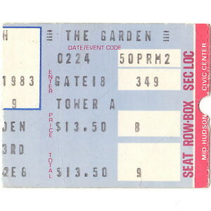 NEIL YOUNG Concert Ticket Stub NEW YORK 2/24/83 MADISON SQUARE GARDEN TRANS TOUR