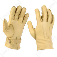 WW2 US Paratrooper Gloves - Leather Cowhide American Airborne Yellow Rigger New