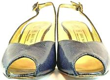 Bruno Magli Slingback Pump Womens 6.5 B Blue Leather Lizard Peep Toe Heels Italy