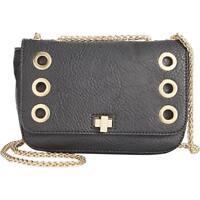 INC International Concepts Faux Leather O-Ring Grommet Crossbody Handbag, Black
