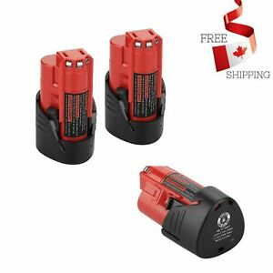 2Pack M12 12V 2.5Ah Lithium ion Replace Battery for Milwaukee M12 48-11-2420