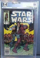 Star Wars #91 Marvel Comic PGX 9.4 1/- SOLO- CHEWY COVER