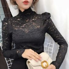 Women's Lace Crochet Hollow Out Sexy Tops High Neck Slim Fit Ladies Blouses Chic