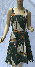 Ralph Lauren Nautical Dress Womens 6 Green Beige Red Cotton Lined MSRP $398
