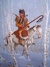 Navajo canvas painting ALONE IN THE SNOW 28x22 world renowned Jimmy Yellowhair
