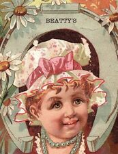 Engraved Beatty's Organs & Pianos Beethoven Organ Victorian Trade Card &B