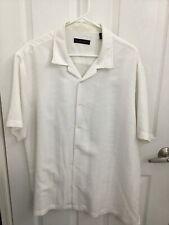 Via Europa Solid White Textured Short Sleeve Camp Shirt XL EUC