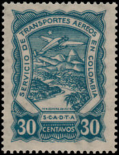 ✔️ COLOMBIA SCADTA 1923 - AIRPLANE OVER RIVER - SC. C42 ** MNH [SCDT33]