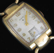 VINTAGE ELGIN X MOVEMENT USA 17J GOLD FILLED WRISTWATCH FOR PARTS REPAIR !