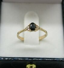 Pretty 9ct Gold Blue Topaz And Diamond ring Size L.1/2