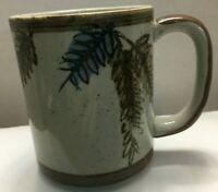 Vintage Stoneware Speckled Coffee Mug Grey Brown Blue Leaves