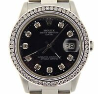 Mens Rolex Date Stainless Steel Watch QSet Black Diamond Dial 1.20ct Bezel 15000