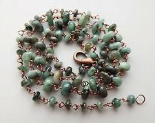 Brazilian emerald gemstone bead necklace . graduated genuine artisan raw jewelry