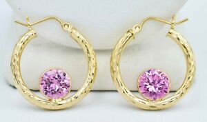 PINK SAPPHIRES 4.36 Cts  HOOPS EARRINGS 10K YELLOW GOLD ** New With Tag **