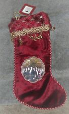 KURT S ADLER DOWNTON ABBEY RED GOLD SEQUINED CHRISTMAS STOCKING