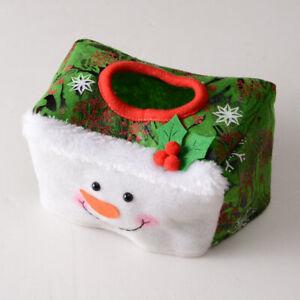 Christmas Tissue Box Set Santa Tissue Box Square Paper-Mache Tissue Box Cover.