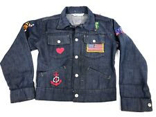 Vintage Boys JC Penny's Jean Denim Jacket With  USA Patches