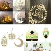 Wooden Eid Mubarak Ramadan Ornament Muslim Islamic Hanging Pendant Decor Gift